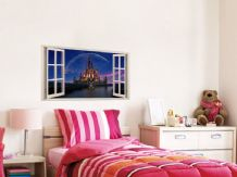 FULL COLOUR Castle Wall Art, PVC Decal, Modern Transfer, 3D Window, Sticker